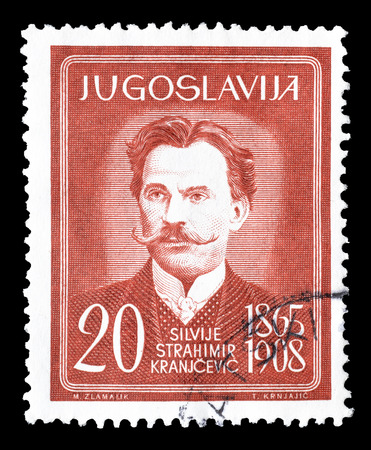 poet: Cancelled postage stamp printed by Yugoslavia, that shows poet Silvije Strahimir Kranjcevic, circa 1965. Editorial