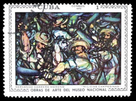militia: Cancelled postage stamp printed by Cuba, that shows painting of  Servando Cabrera Moreno Peasant militia, circa 1970.