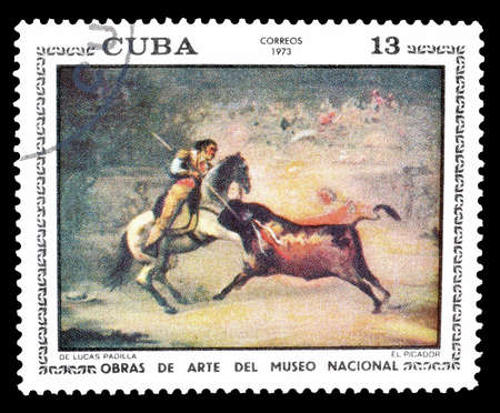 padilla: Cancelled postage stamp printed by Cuba, that shows painting of  The Picador by De Lucas Padilla, circa 1973.