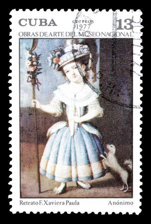 cuba girl: Cancelled postage stamp printed by Cuba, that shows painting of a girl, circa 1977.