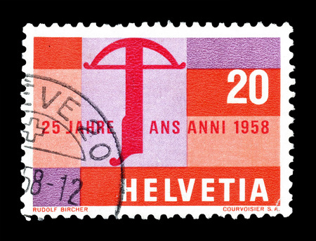crossbow: Cancelled postage stamp printed by Switzerland, that shows Crossbow, circa 1958.