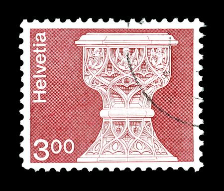 pila bautismal: Cancelado sello impreso por Suiza, que muestra la pila bautismal gótica, alrededor de 1979. Editorial