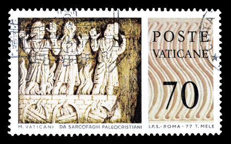 philately: Cancelled postage stamp printed by Vatican, that shows sculptures, circa 1977.