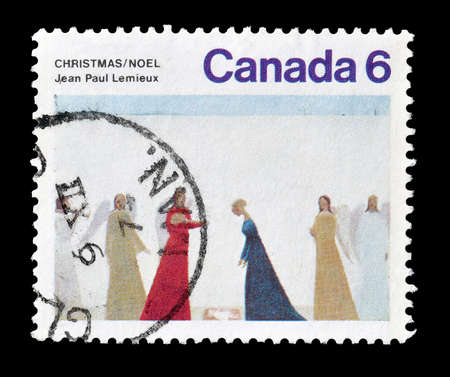 canada stamp: Cancelled postage stamp printed by Canada, that shows painting by Jean Paul Lemieux, circa 1974.