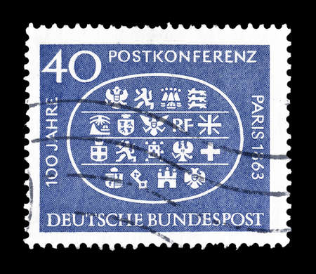 commemoration: Cancelled postage stamp printed by Germany, that shows Commemoration of Post conference Paris, circa 1963.