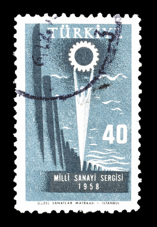 exposition: Cancelled postage stamp printed by Turkey, that shows Industrial exposition, circa 1958.