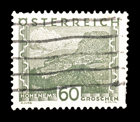 philately: Cancelled postage stamp printed by Austria, that shows Hohenems, circa 1929.
