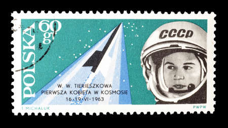 valentina: Cancelled postage stamp printed by Poland, that shows Valentina Terehkova, circa 1963.
