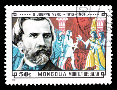 verdi: Cancelled postage stamp printed by Mongolia, that shows Giuseppe Verdi, circa 1981.