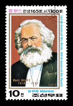 karl: Cancelled postage stamp printed by North Korea, that shows Karl Marx, circa 1983. Editorial