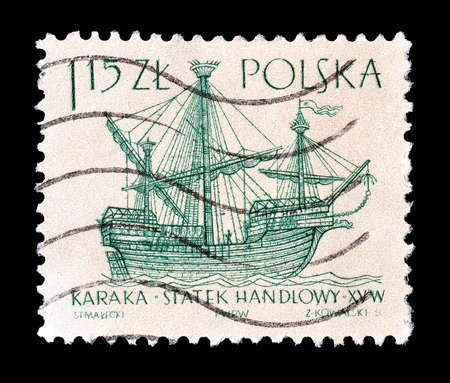 15th: Cancelled postage stamp printed by Poland, that shows 15th century Caraca sailboat, circa 1963.