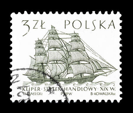 19th: Cancelled postage stamp printed by Poland, that shows 19th Century Merchantman, circa 1964. Editorial