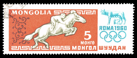 mongolia horse: Cancelled postage stamp printed by Mongolia, that shows Horse riding, circa 1960.