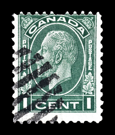 canada stamp: Cancelled postage stamp printed by Canada, that shows portrait of King George V, circa 1932.