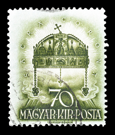 stephen: Cancelled postage stamp printed by Hungary, that shows Crown of St. Stephen, circa 1938.
