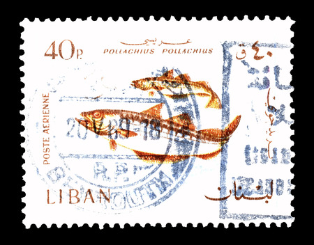Cancelled postage stamp printed by Lebanon, that shows Pollock, circa 1968.