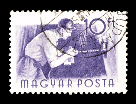 coal miner: Cancelled postage stamp printed by Hungary, that shows Coal miner, circa 1955. Editorial