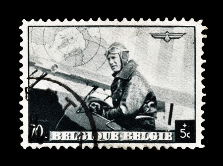 leopold: Cancelled postage stamp printed by Belgium, that shows king Leopold III as pilot, circa 1938. Editorial