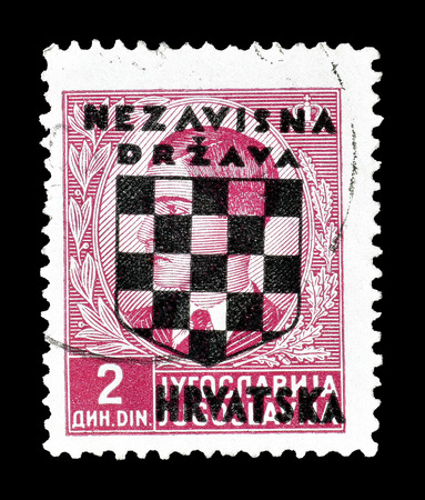 overprint: Cancelled postage stamp printed by Croatia, that shows Overprint on king Petar, circa 1941.
