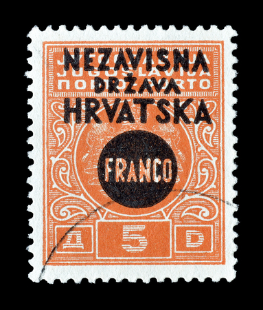 overprint: Cancelled postage stamp printed by Croatia, that shows Overprint on Porto stamp, circa 1941.