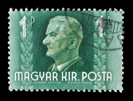 admiral: Cancelled postage stamp printed by Hungary, that shows admiral Nicholas Horthy, circa 1941. Editorial