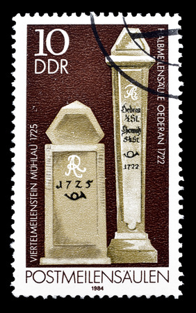 milestones: Cancelled postage stamp printed by German Democratic Republic, that shows Milestones, circa 1984. Editorial