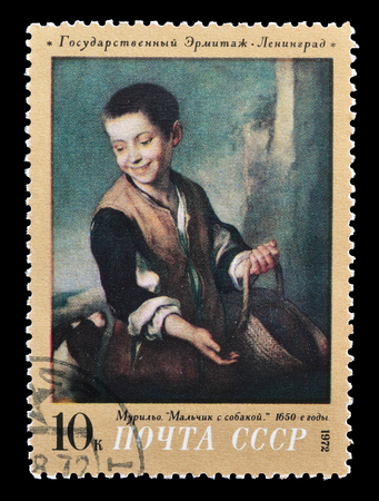 murillo: Cancelled postage stamp printed by Soviet Union, that shows painting of a boy with a dog  by Murillo, circa 1972.