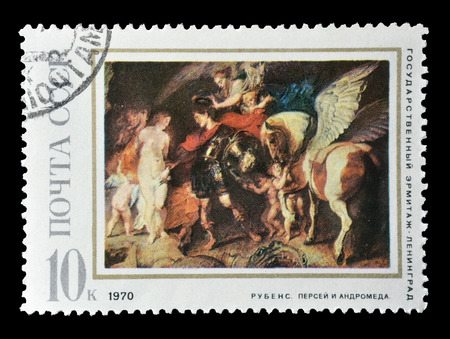 andromeda: Cancelled postage stamp printed by Soviet Union, that shows painting of Perseus and Andromeda by Rubens, circa 1970.