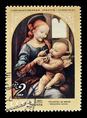 vinci: Cancelled postage stamp printed by Soviet Union, that shows painting of Bennois Madonna by Leonardo da Vinci, circa 1971. Editorial