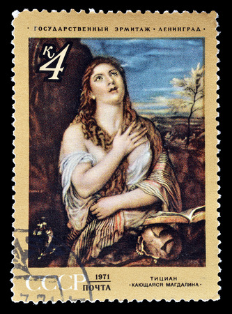 sins: Cancelled postage stamp printed by Soviet Union, that shows painting of Mary Magdalene confesses her Sins by Titian, circa 1971.