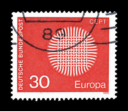 philately: Cancelled postage stamp printed by Germany, that shows CEPT stamp, circa 1970.