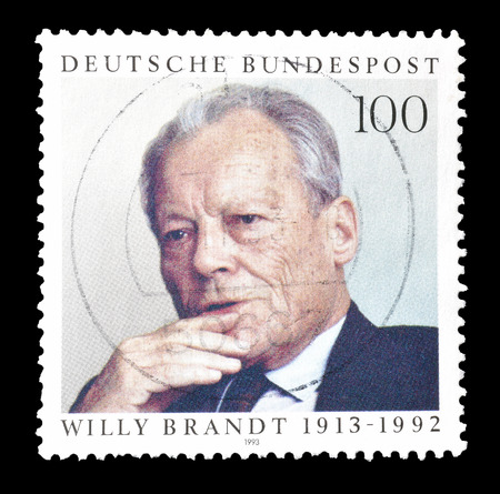 brandt: Cancelled postage stamp printed by Germany, that shows Willy Brandt, circa 1993.