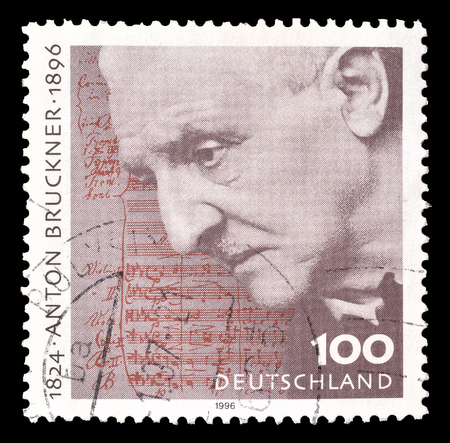 anton: Cancelled postage stamp printed by Germany, that shows Anton Bruckner, circa 1996.
