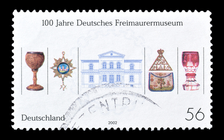 artefacts: Cancelled postage stamp printed by Germany, that shows Museum artefacts, circa 2002.