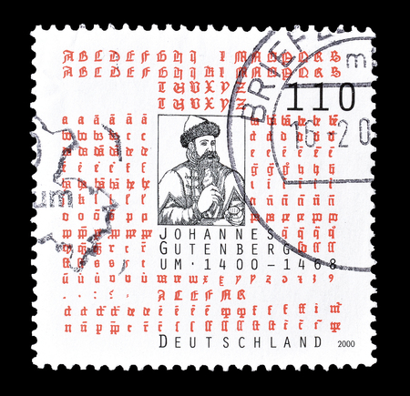 johannes: Cancelled postage stamp printed by Germany, that shows Johannes Gutenberg, circa 2000. Editorial