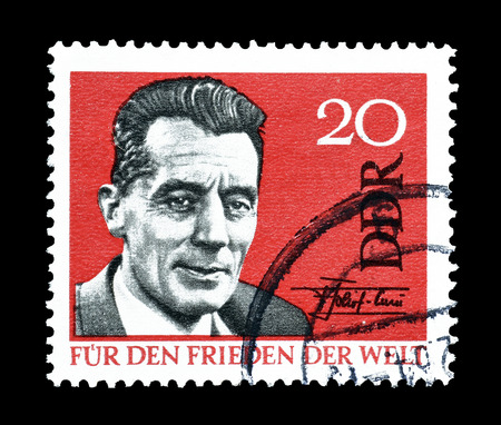 frederic: Cancelled postage stamp printed by German Democratic Republic, that shows Frederic Curie, circa 1964.