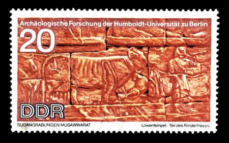 frieze: Cancelled postage stamp printed by German Democratic Republic, that shows Cattle frieze, circa 1970.
