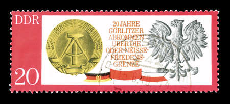 democratic: Cancelled postage stamp printed by German Democratic Republic, that shows Gorlitzer Treaty, circa 1970.