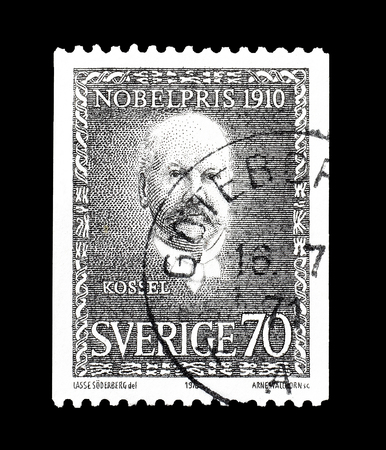 nobel: Cancelled postage stamp printed by Sweden, that shows portrait of Nobel prize winner Kossel, circa 1970. Editorial