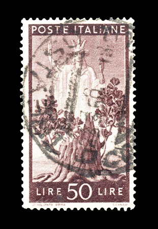 italia: Cancelled postage stamp printed by Italy, that shows Italia and oak tree, circa 1945.