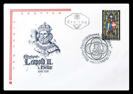 leopold: Cancelled First Day Cover letter printed by Austria, that shows Leopold III, circa 1967.