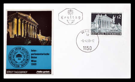 first day: Cancelled First Day Cover letter printed by Austria, that shows Austrian parliament, circa 1969.
