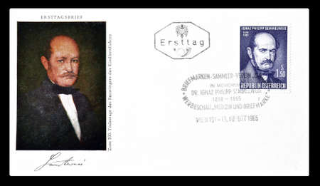 first day: Cancelled First Day Cover letter printed by Austria, that shows portrait of Semmelweis, circa 1965.