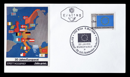 first day: Cancelled First Day Cover letter printed by Austria, that shows Map of Europe, circa 1969.