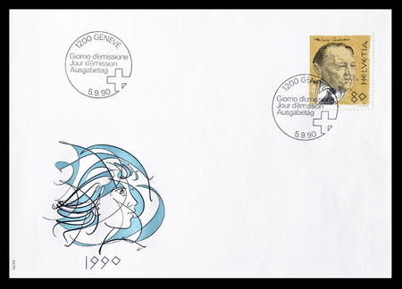 first day: Cancelled First Day Cover letter printed by Switzerland, that shows Blaise Cendrars, circa 1990.