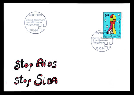 phallus: Cancelled First Day Cover letter printed by Switzerland, that shows Phallus symbol, circa 1994.