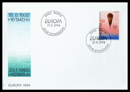 stratosphere: Cancelled First Day Cover letter printed by Switzerland, that shows Stratosphere balloon, circa 1994. Editorial