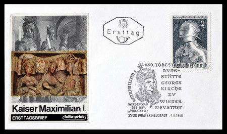 first day: Cancelled First Day Cover letter printed by Austria, that shows Kaiser Maximilian, circa 1969.