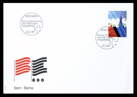 confederation: Cancelled First Day Cover letter printed by Switzerland, that shows Symbolic depiction of 700 years Swiss Confederation, circa 1991. Editorial