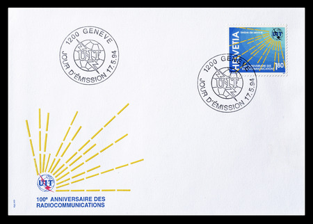 first day: Cancelled First Day Cover letter printed by Switzerland, that shows Radio signals, circa 1994.